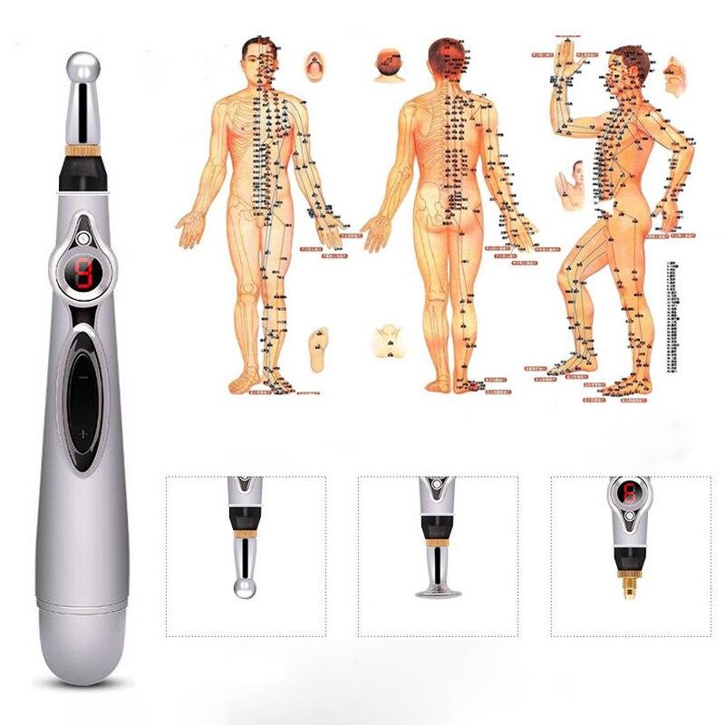 Electronic Acupuncture Pen Electronic Meridian Laser Therapy Massage Pen Acupuntura Muscle Stimulator Masazer Glowy Vibrator