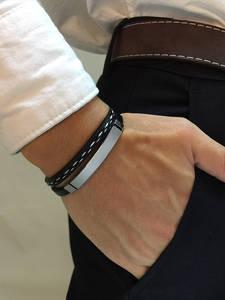 Vnox Multi Layer Leather Bracelets for Men Women Customizable Engraving Stainless Steel