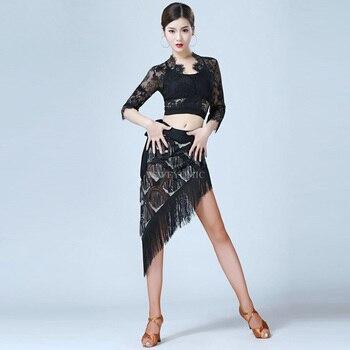 Women Girls Latin dance costume Tassels triangle scarf short skirt new dance Dress 2019 new Latin Dance Dress for female
