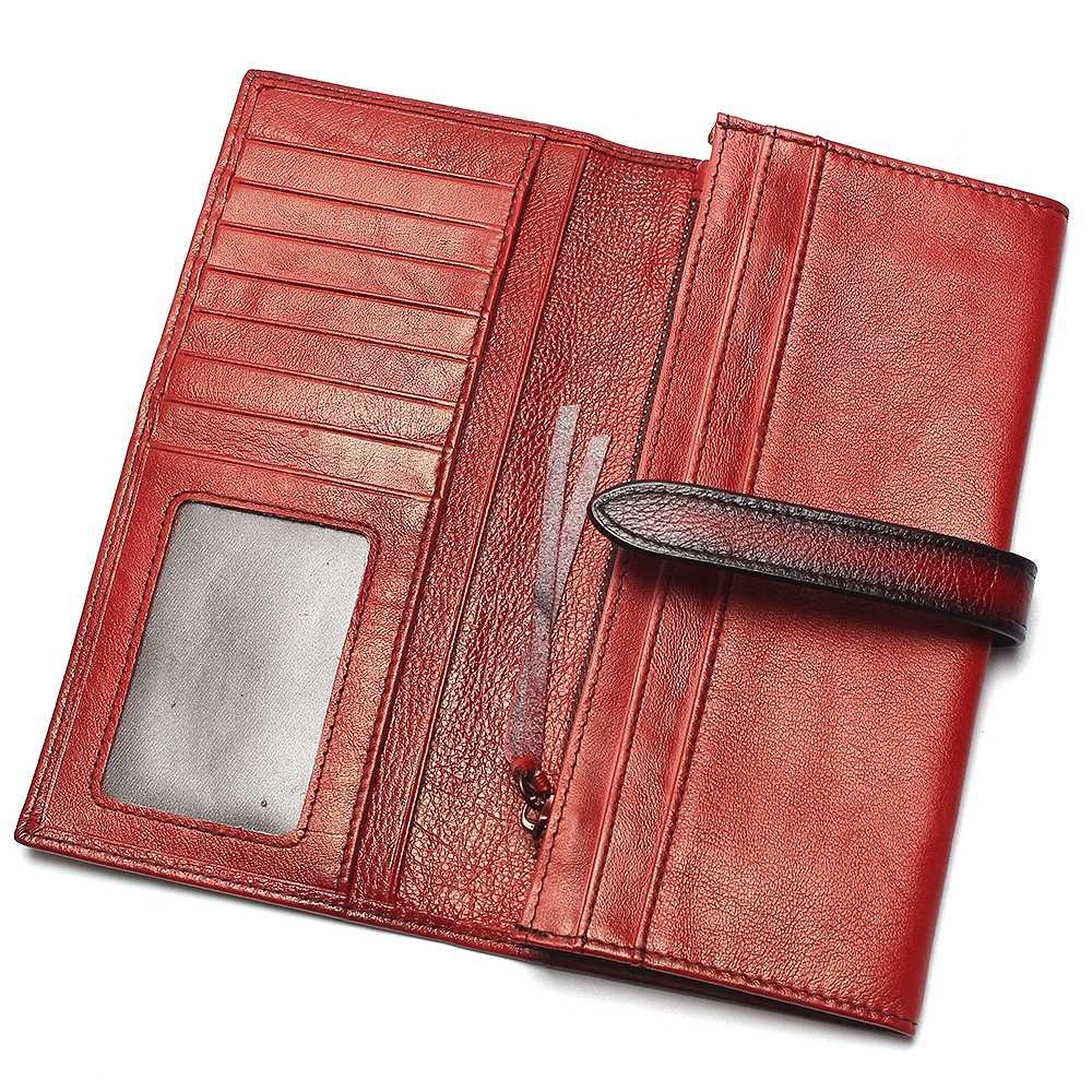 Rfid bloqueando 100% de couro genuíno do vintage pintura à mão dos homens carteira longa bolsa da moeda do vintage designer masculino carteiras