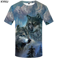 KYKU Wolf T shirt Men Forest Anime Clothes Animal Shirt Print Mountain Funny shirts Abstract Tshirt Printed Short Sleeve