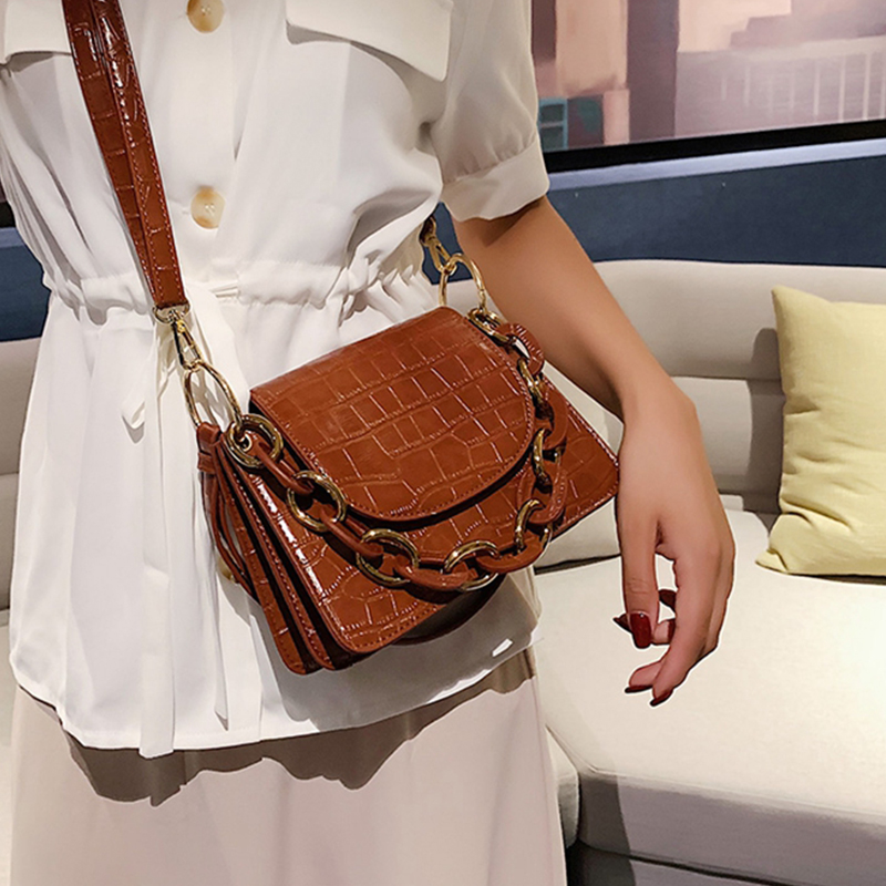 Mini Stone Pattern Tote Bag Fashion Women Shoulder Bags Chic Chain Solid Color Messenger Bag For Women Casual Pu Small Handbag