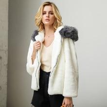 все цены на Elegant Shaggy Women Faux Fur Coat Streetwear Autumn Winter Warm Plush Fake Fur Hooded Fur Coat Thicken Overcoat Black White онлайн