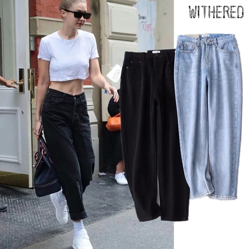 Withered Blogger Same High Street Mom Jeans Woman Vintage Loose High Waist Jeans Harem Jeans Boyfriend Jeans For Women Plus Size