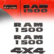 Emblema do carro para ram 1500 4x4 emblemas porta lateral traseira decalque substituição para ram 1500 (preto fosco)