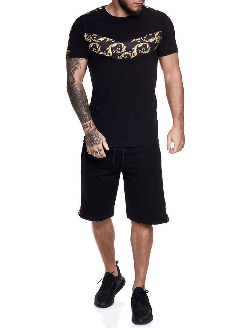 Europe and AmericaThe new Summer 2020 Men's Casual Suit fashion Men's sports Suit Running short sleeve T-shirt shorts suit
