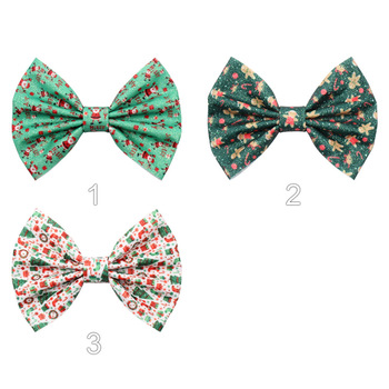 10 pcs/lot, 5'' Christmas Leather Print Santa Claus Hair Bows For Kids Women Party Barerres Hair Clip DIY Girls Hair Accessories image