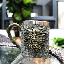 цена на Stone face beer mug elder mug mug coffee ancient culture creative pharaoh stainless steel mug