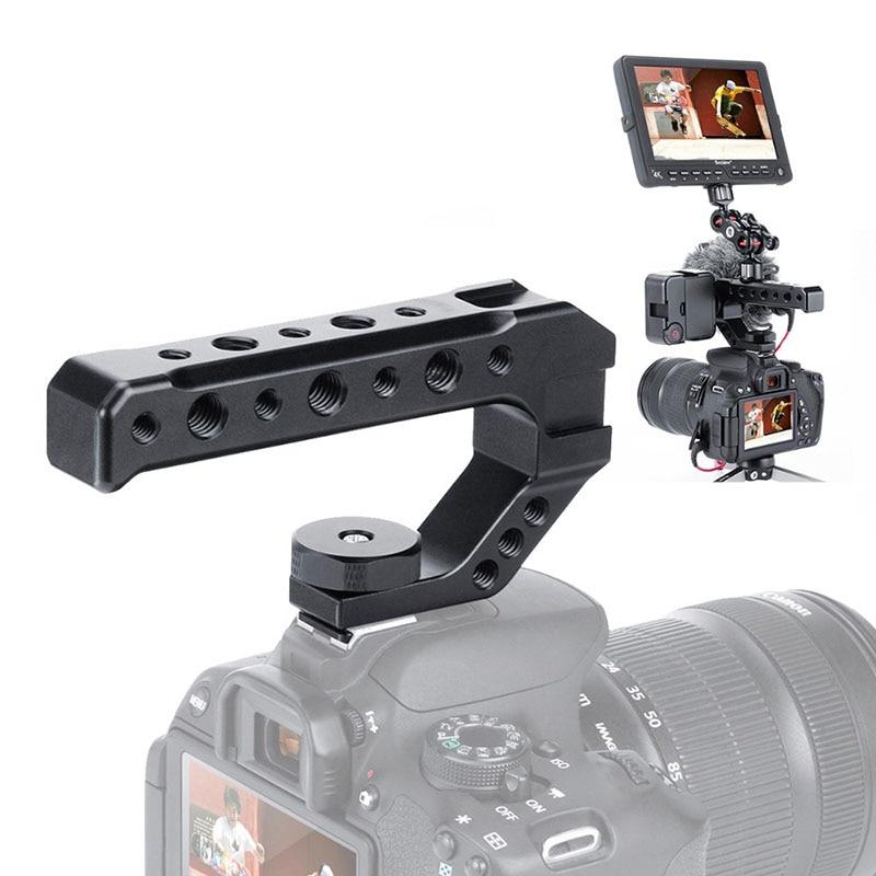 UURig R005 DSLR Camera Top Handle Metal Cheese Handle Grip with Three Cold Shoe Adapter Mount Universal Handgrip
