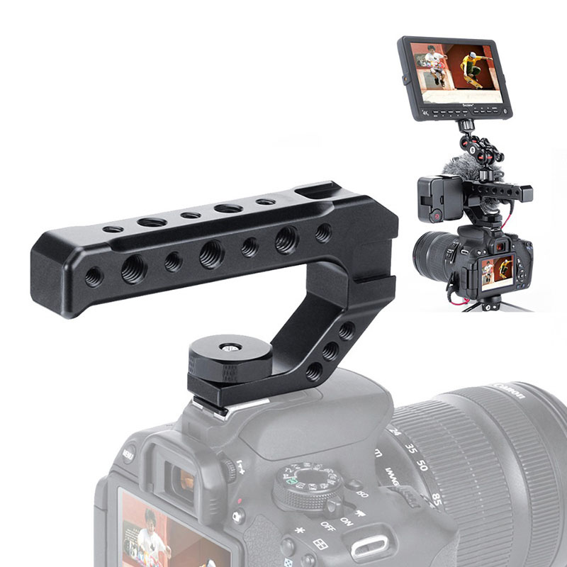 UURig R005 Universal DSLR Camera Rig Top Handle Three Cold Shoe Adapter Mount for LED Light Microphone Metal Cheese Handle Grip|Photo Studio Accessories| - AliExpress