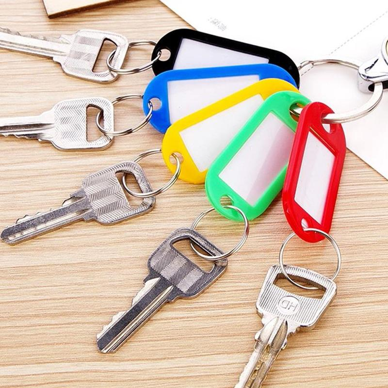 10Pcs Coloured Plastic Key Fobs Luggage ID Tags Labels Key Rings With Name Cards