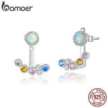Bamoer argent 925 bijoux blanc opale Joyería coloré bulle oreille veste boucles d'oreilles pour femmes hypoallergénique bijoux de mariage BSE392