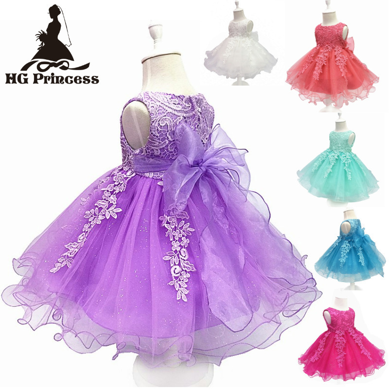 Amazon Hot Selling Cotton Lace Babies' Dress A Year Of Age Birthday Light Purple Princess Dress Puffy Mesh Dress Wholesale