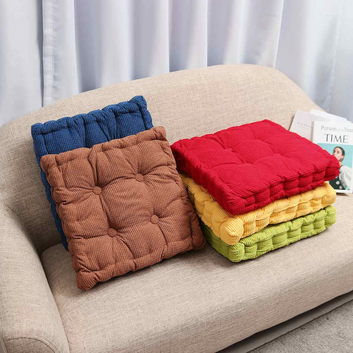 Anti-skid Warmer Pad Washable 50x50cm Square Corduroy Chair Pad Cushion Thicker Patio Car Office Seat Sofa Tatami  Mat