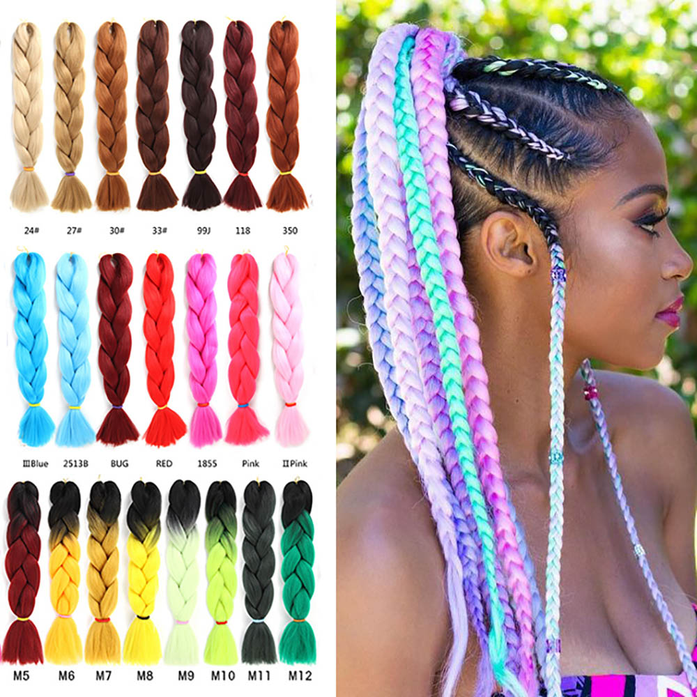 LIHUI Pink Synthetic Hair Ombre Hair Bundles Synthetic Jumbo Braiding Hair Kanekalon Crochet Purple Rainbow Fake Hair Extensions