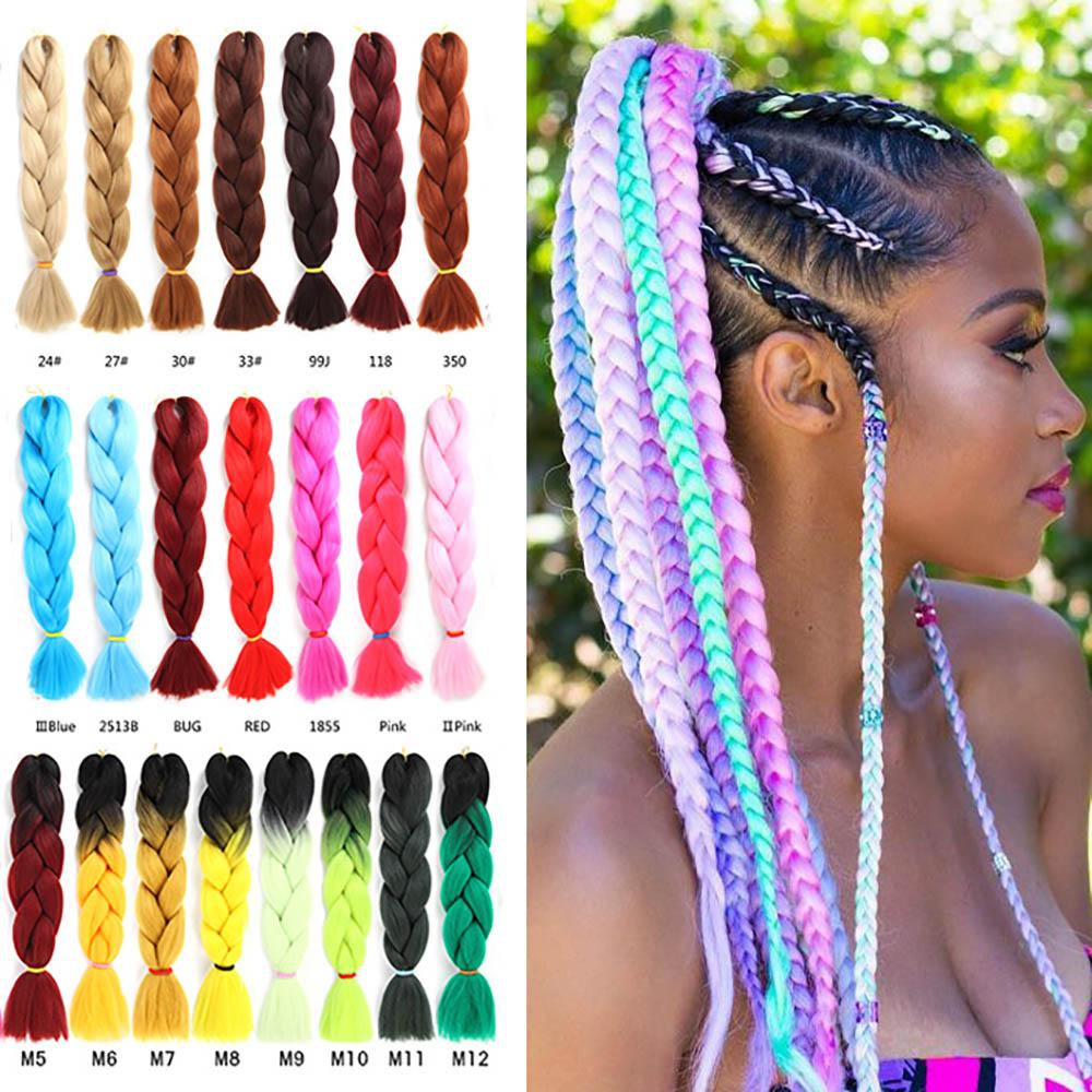LIHUI Pink Synthetic Hair Ombre Hair Bundles Synthetic Jumbo Braiding Hair Kanekalon Crochet Purple Rainbow Fake Hair Extensions
