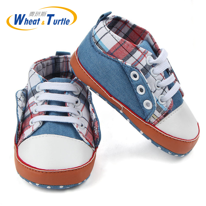 2019 New Newborn Baby Boy Girl Soft Sole Crib Plaid Shoes Warm Boots Anti-slip Sneaker PU Breathable Solid First Walkers 0-18M
