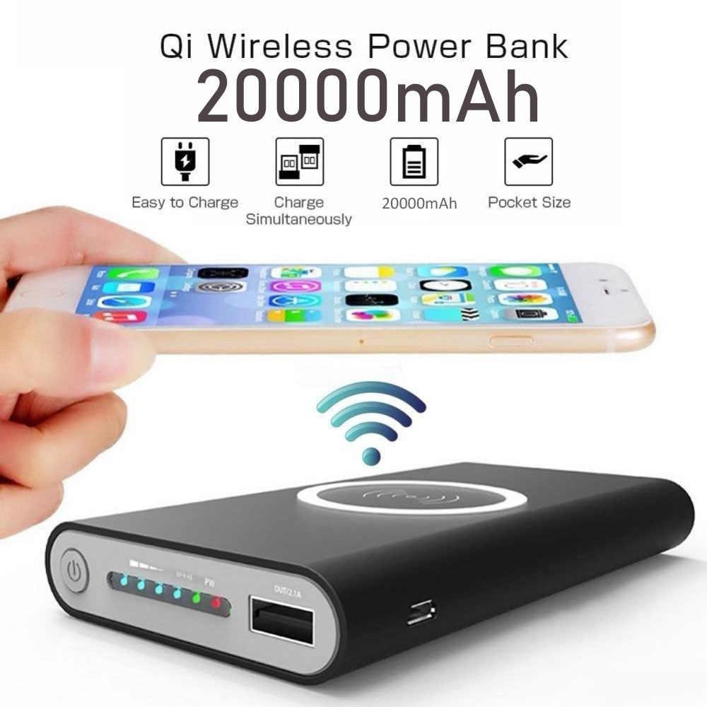 20000 M Ah Portable Qi Wireless Charger Power Bank untuk Iphone Huawei Xiaomi Double USB Output Powerbank LED Display Power Bank