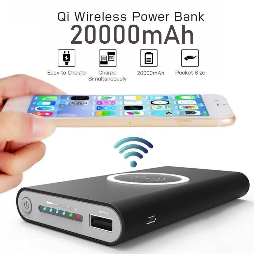 20000 мАч портативное беспроводное зарядное устройство Qi для iPhone, Huawei, XiaoMi, Двойной выход USB, внешний аккумулятор, светодиодный дисплей, внешни...