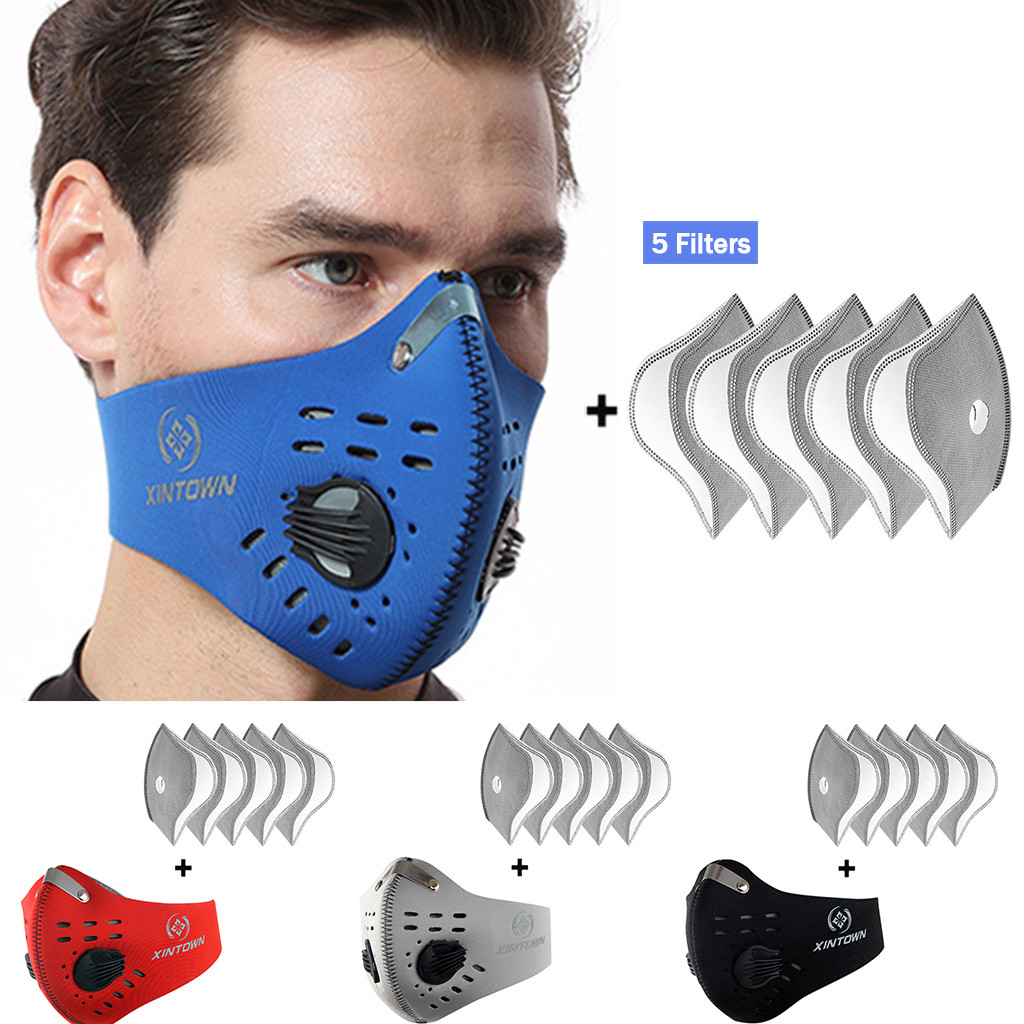 Dustproof Masks Activated Carbon Dust Mask With Extra Filter Cotton Sheet 5PCS Protection Breathable Respirator Masque Mascarill