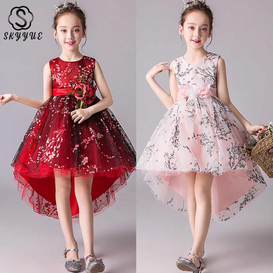 Skyyue Kid Party Communion   Dress   PrintingTulle Sweety Princess   Girl     Dress   O-Neck   Flower     Girl     Dress   for Wedding 2019 BX2829