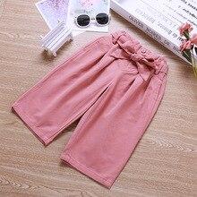 Новые осенние товары, повседневные брюки в Корейском стиле для девочек, штаны-капри для маленьких девочек