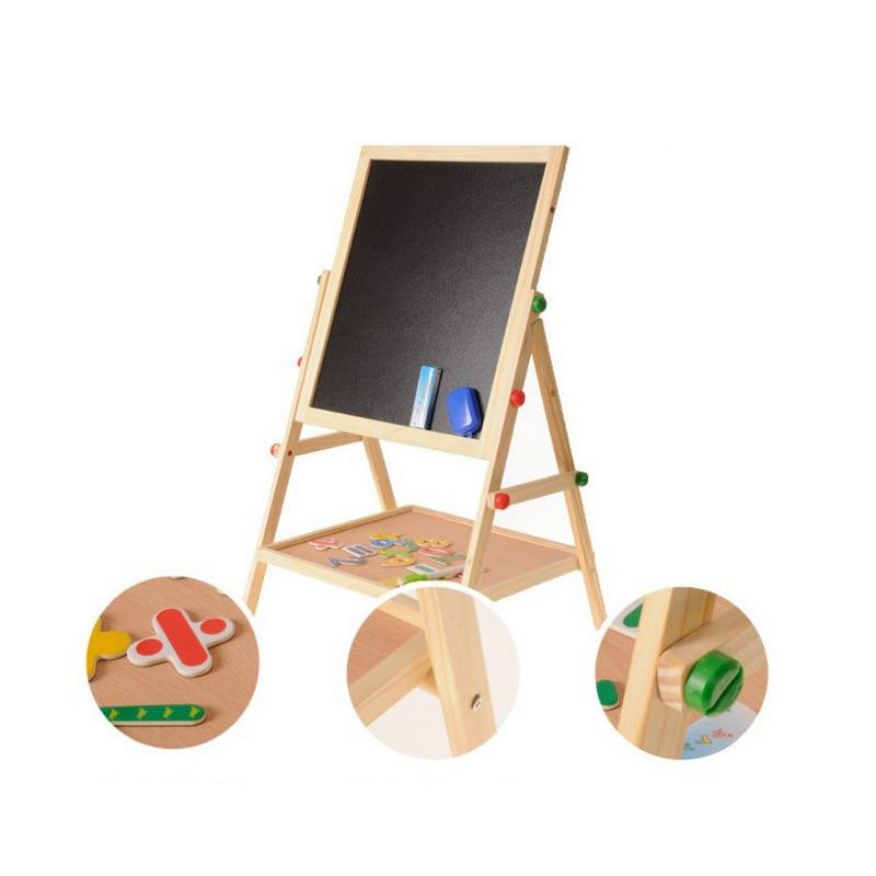 Multi-functional Two-in-One Children Double-Sided Magnetic Blackboard Drawing Board Wooden Braced Writing Board Send Tile