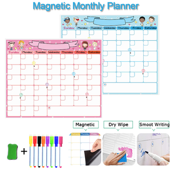 Magnetic Weekly Monthly Planner Calendar Dry Erase Board Whiteboard for Kids Memo Message Fridge Sticker Erasable Magnet Markers this week erasable blackboard chalkboard weekly calendar planner memo vinyl wall decal sticker 58x84cm