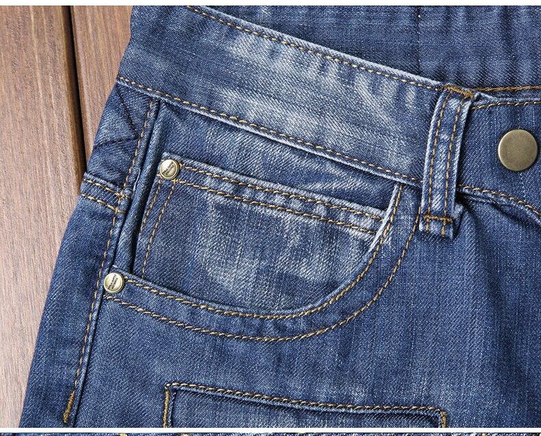 Biker Jeans Men Slim Fit Stretch Fake Pockets Patchwork Pleated Streetwear Male Denim Pants Men's