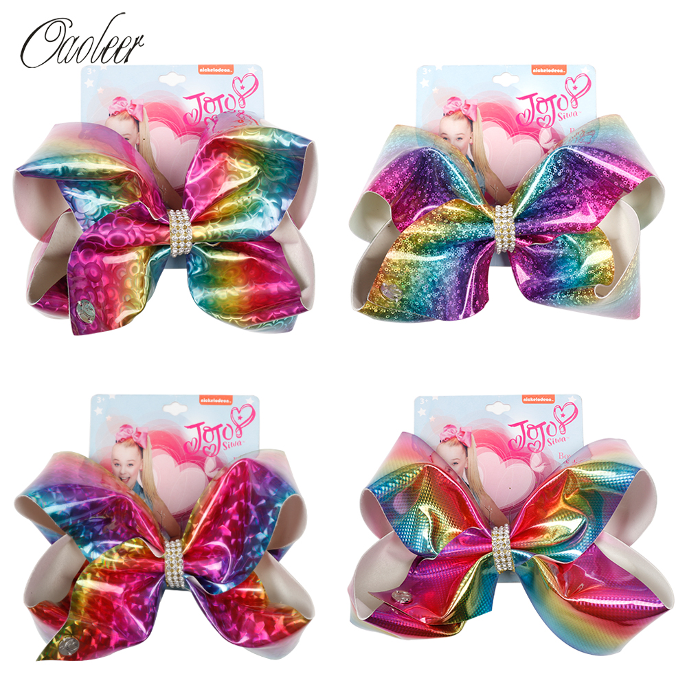 8 Inch Jojo Siwa Hair Bows For Girls Rainbow Leather Hairgrips With Rhinestone Knot Handmade Girls New Fashion Hair Accessories