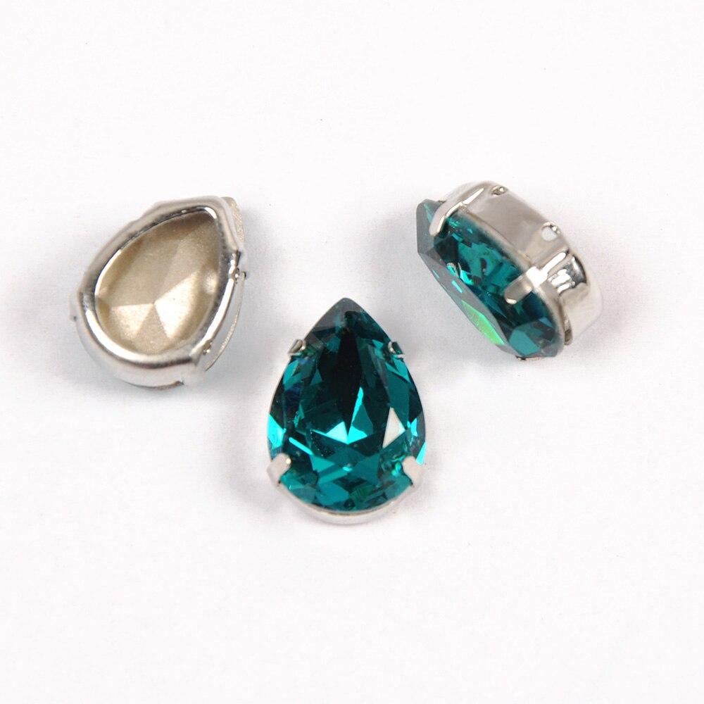 YANRUO Teardrop Blue Zircon Claw Crystals Jewelry Ornaments Marking Silver Gold Base Studs Rhinestones Sew on Stones in Rhinestones from Home Garden