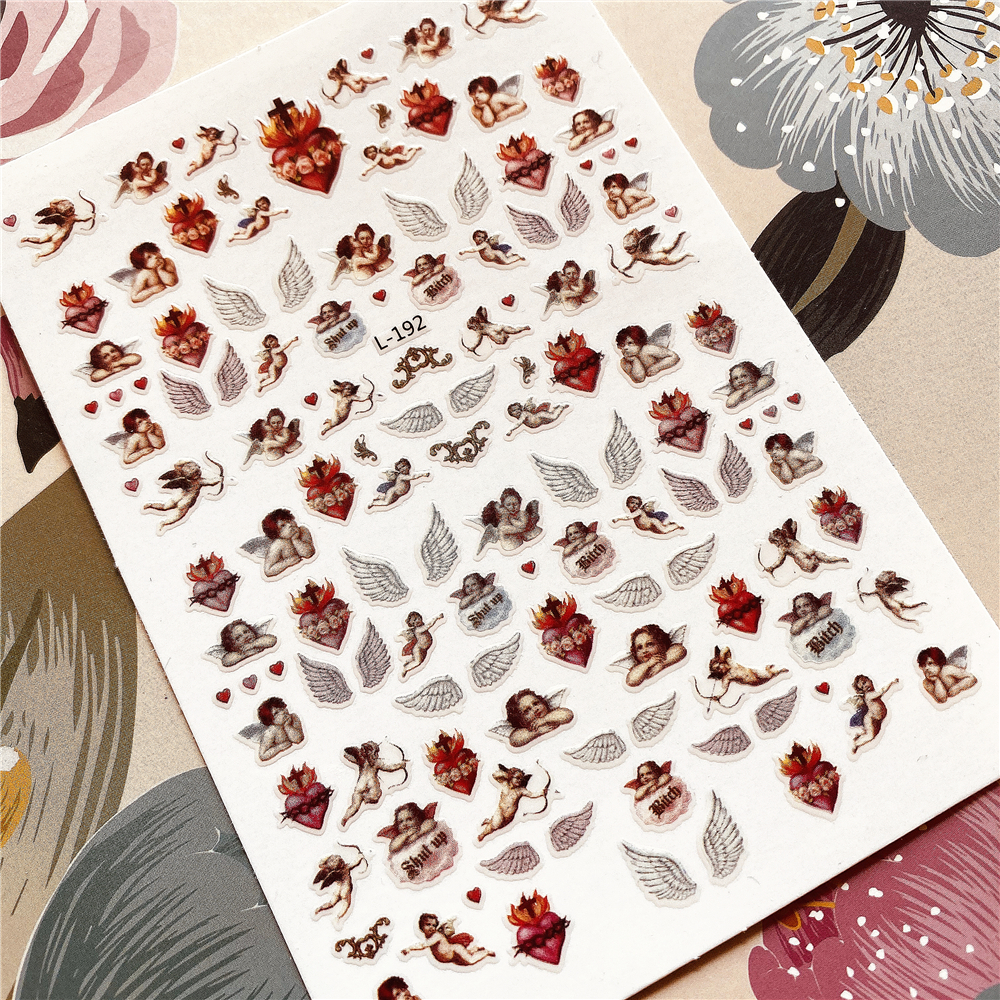 L-192-277 Angel Lion Tiger Angel Wings 3D Back Glue Nail Decal Nail Sticker Nail Decoration Nail Art Nail Tool Nail Ornament