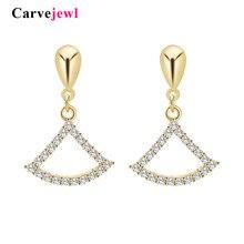 Carvejewl romantic cute earrings sector shape crystal rhinestone acrylic pearl fishtail drop dangle earrings for women jewelry цена 2017