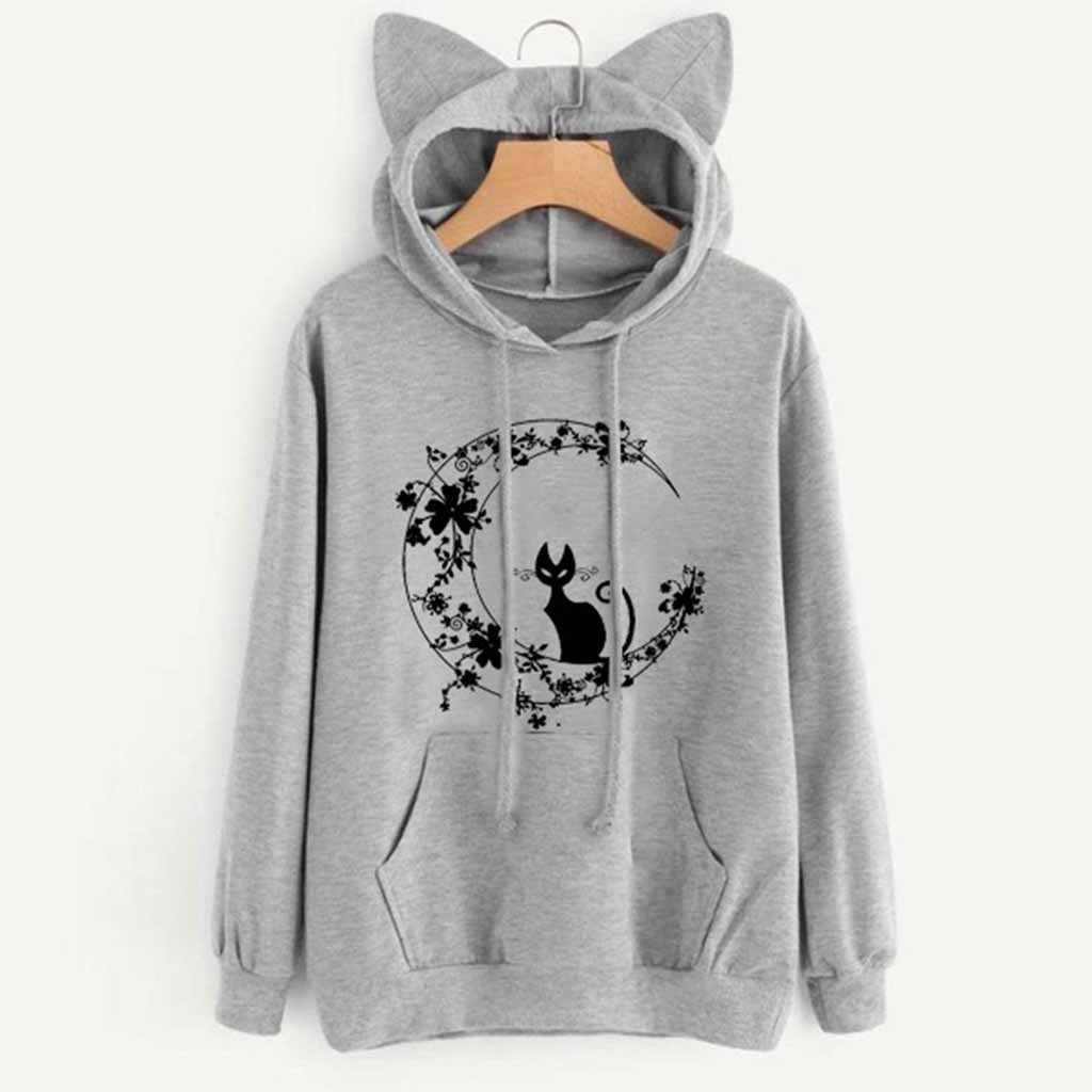 Frauen Katze Langarm Hoodie Sweatshirt Mit Kapuze Pullover Tops Bluse frauen Sweatshirt Bluse Mit Ohren Polerones L0821