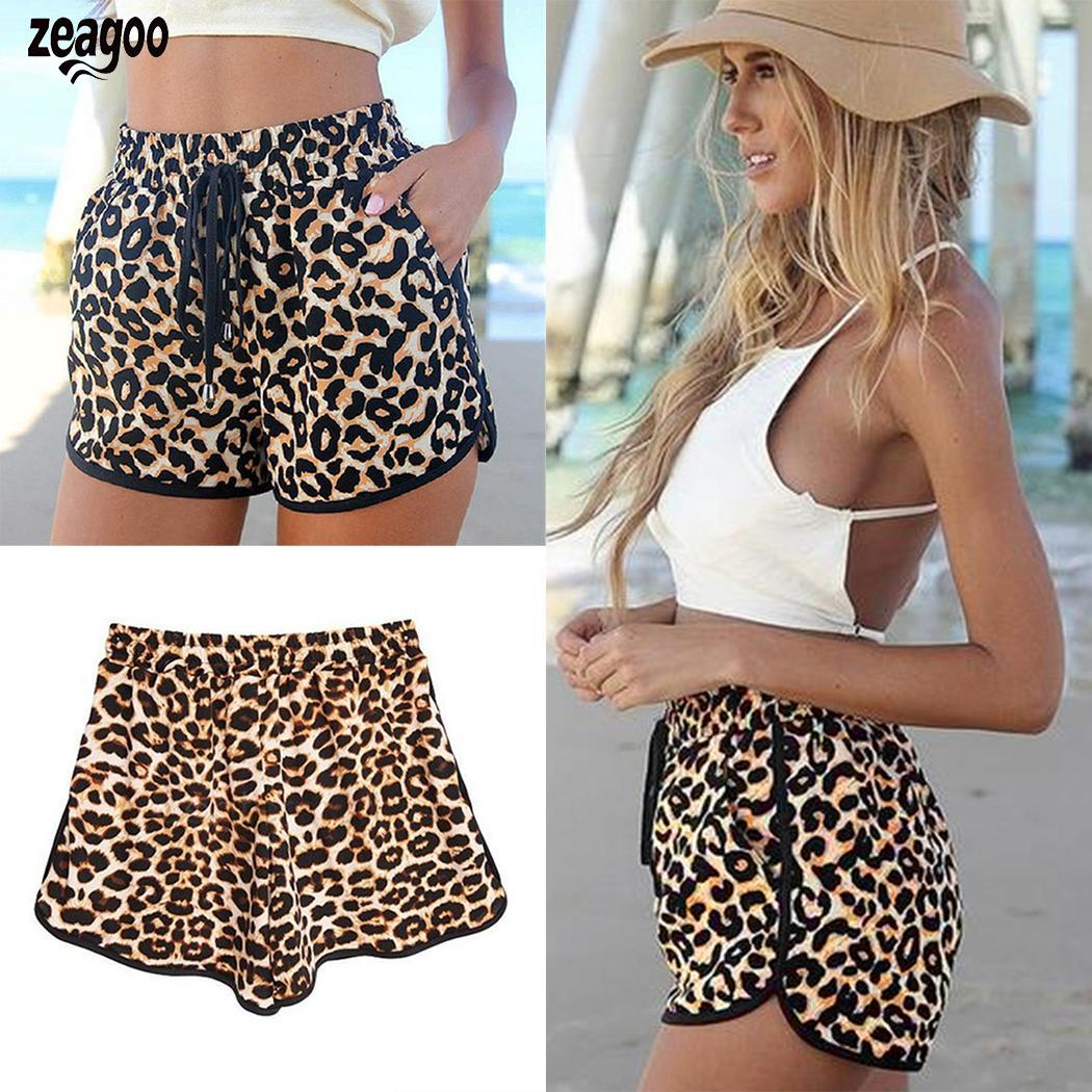 Women Casual Loose Leopard Drawstring Waist Casual, Above Knee Shorts V-Neck Mid Beach Summer Shorts