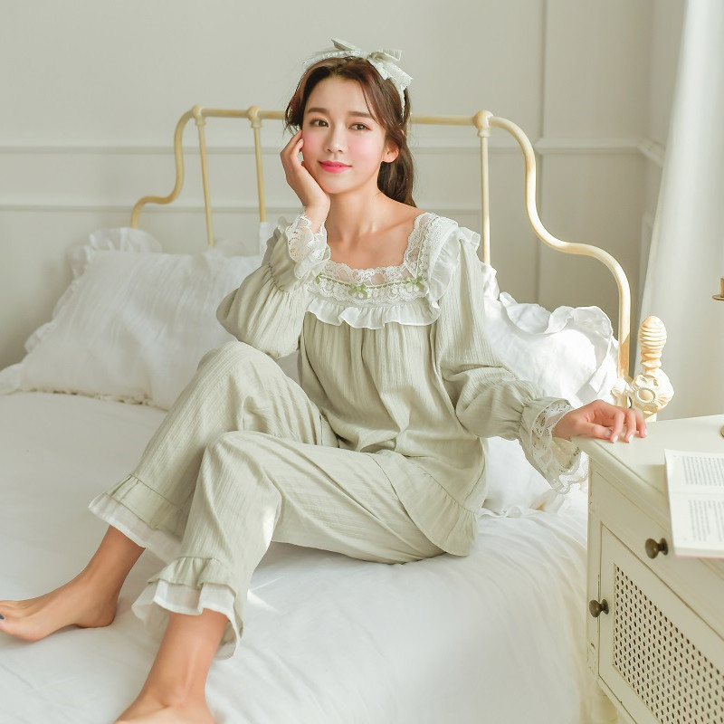 Sweet Cotton Women's Pink /Light Green Color Striped Pajamas Sets Spring Autumn Long Sleeve Casual Nightwear Present Hairband