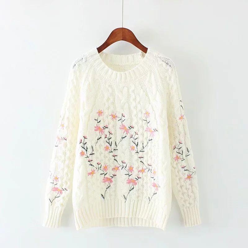 2019 Autumn New Japanese Style Sweet Flower Embroidery Pullovers And Sweaters Warm Knitwear Student Long Sleeve Pullover Sweater