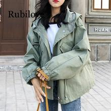 Rubilove New Loose Trench Coat Spring Autumn Womens Hooded Black Green Windbreaker Outerwear Female Casual