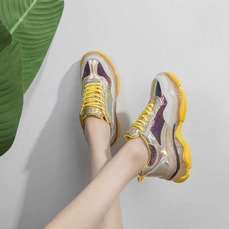 ขายร้อนผู้หญิงเลื่อมแพลตฟอร์มรองเท้าส้น Lace Up Jogging รองเท้าผ้าใบลำลอง Streetwear Hip Hop กีฬารองเท้า