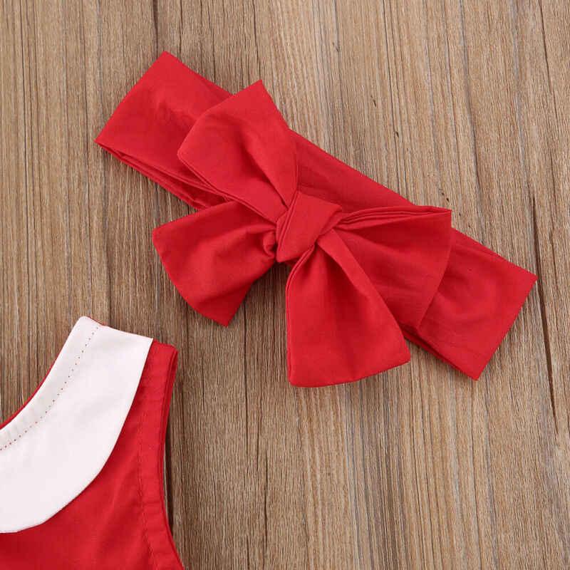 2019 브랜드 0-24 m 크리스마스 아기 소녀 옷 술 민소매 패치 워크 점프 슈트 헤드 밴드 크리스마스 파티 복장 산타 의상