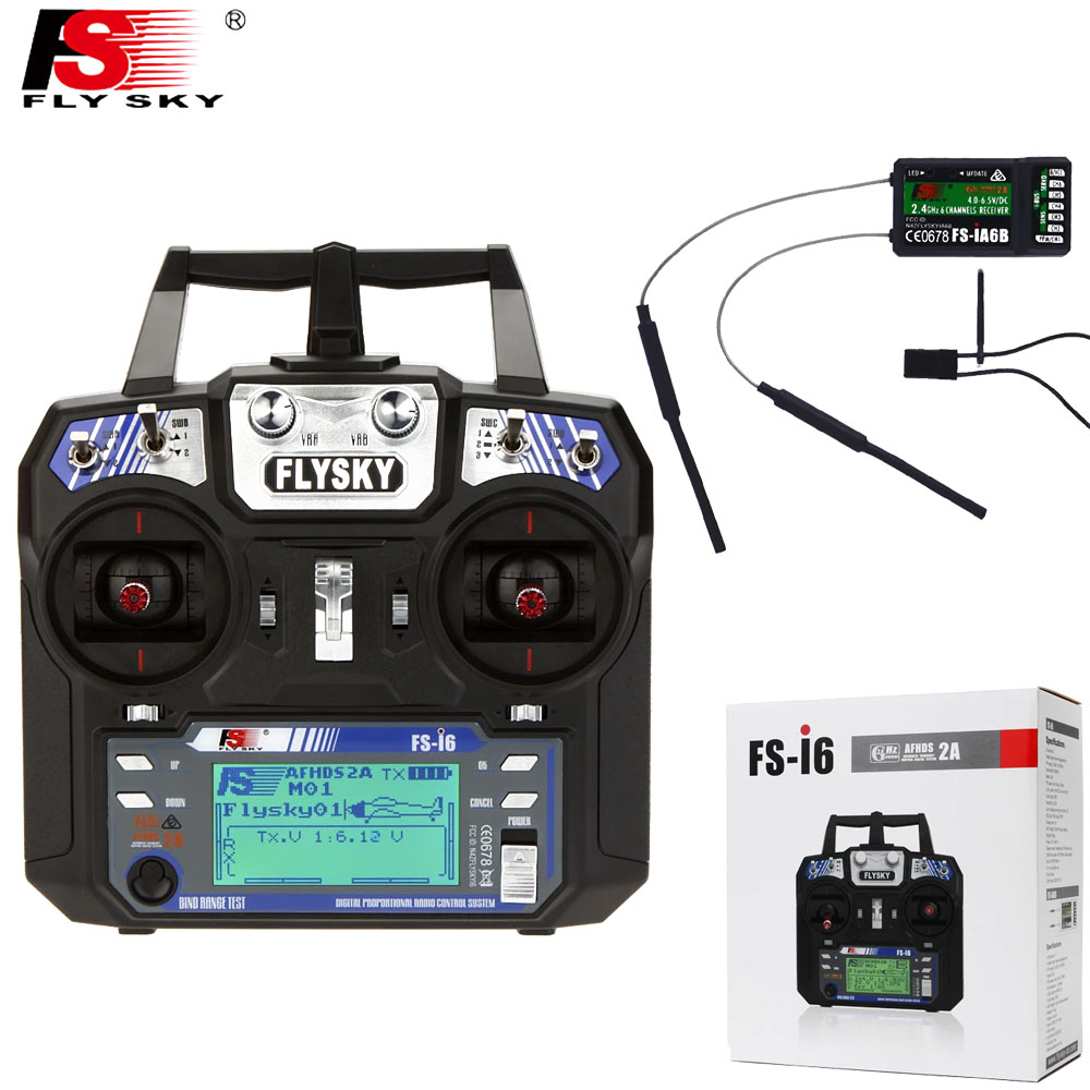 1pcs FlySky FS-i6 2.4G 6ch Transmitter+FS-iA6B Receiver System LCD Screen For RC Helicopter(with Retail Box)
