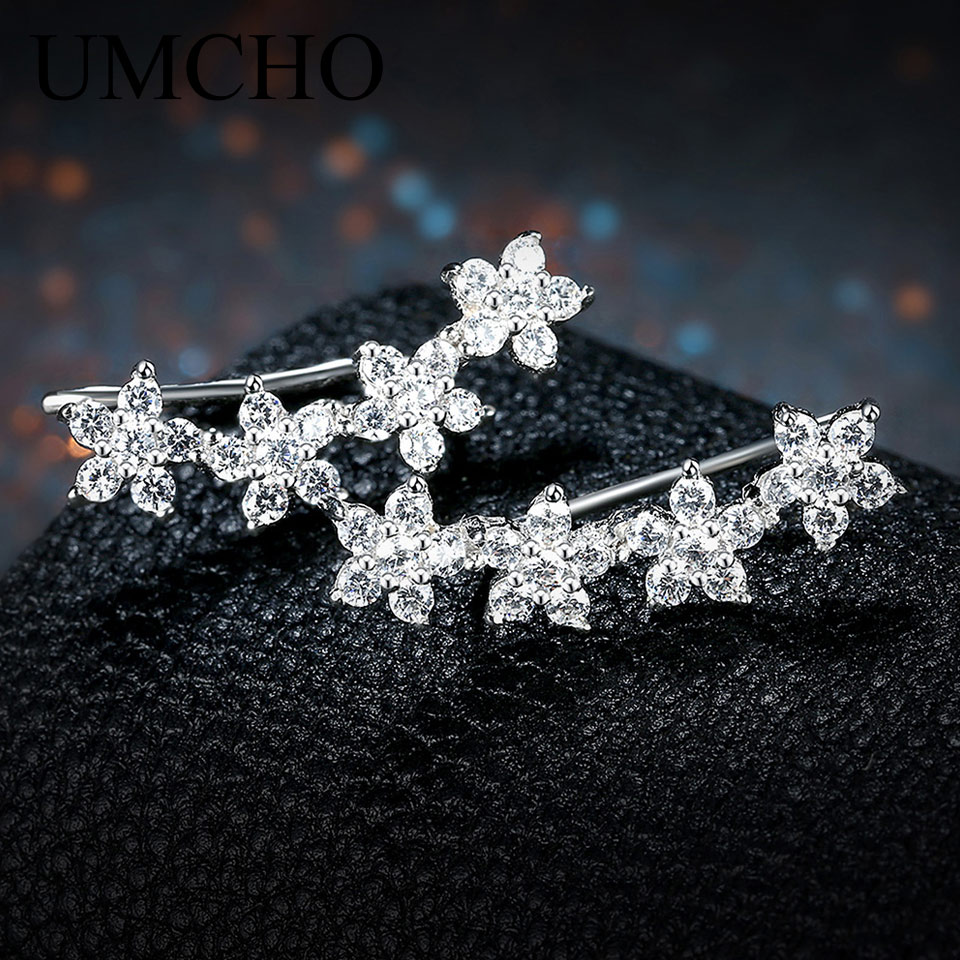 UMCHO Flowers Real 925 Sterling Silver Clear Cubic Zircon Earrings for Women Girls Daily Fashion Simple Design Fine Jewelry