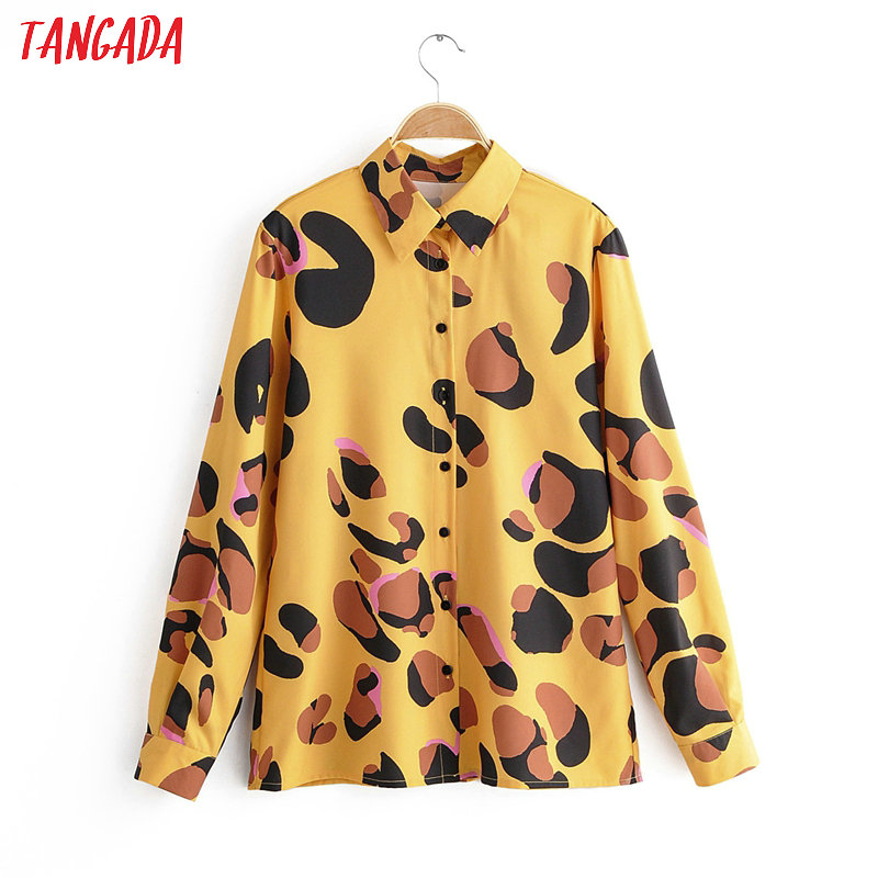 Tangada Women Retro Leopard Animal Print Blouse Long Sleeve Chic Female Casual Loose Shirt Blusas Femininas 1F15