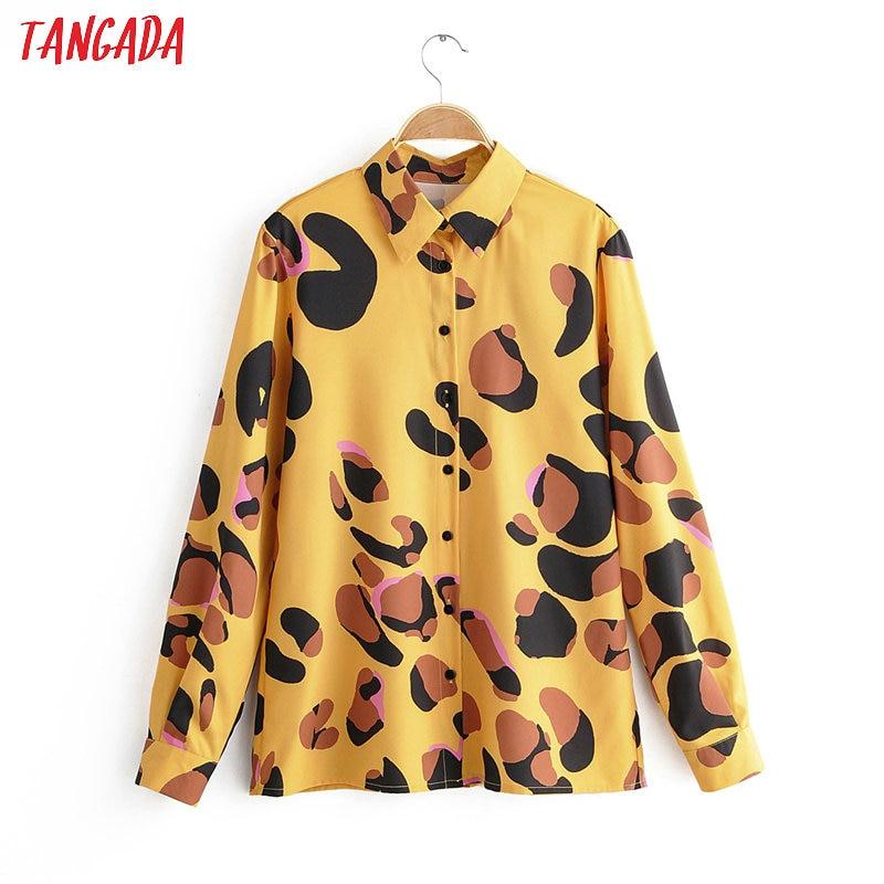 Tangada Women Retro Leopard Animal Print Blouse Long Sleeve Chic Female Casual Loose Shirt Blusas Femininas 1F15