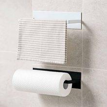 Cozinha auto-adesivo rolo suporte de papel toalha de armazenamento rack de tecido cabide armário de suspensão prateleira do banheiro suporte de papel higiénico # t2p