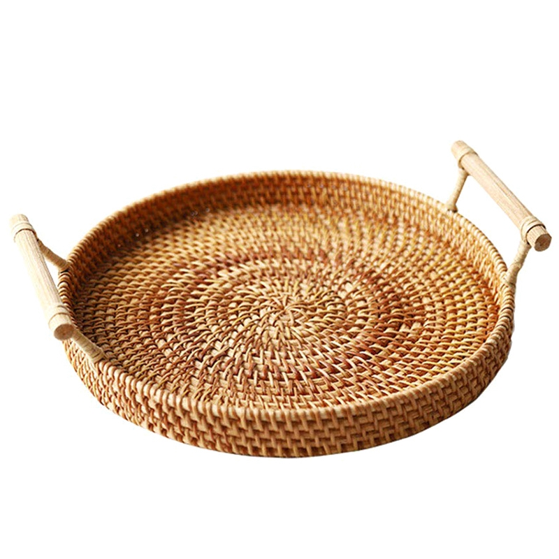 New-Rattan Storage Tray, Round Basket With Handle, Hand-Woven, Rattan Tray Wicker Basket Bread Fruit Food Breakfast Display L
