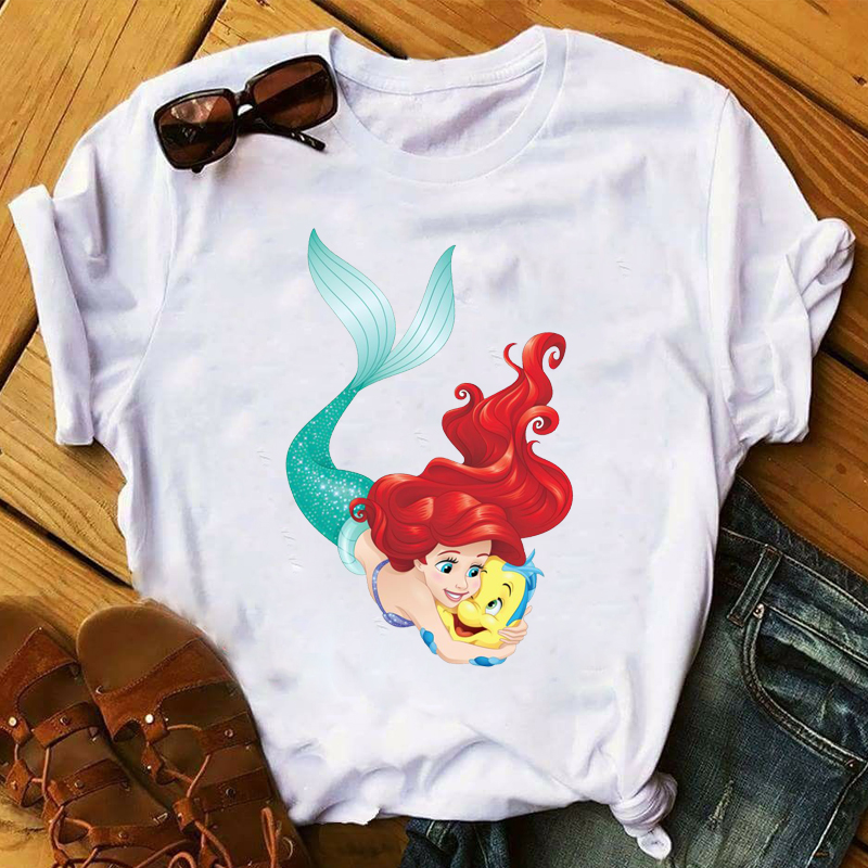 Women 2020 Princess Mermaid Swim Fashion Print Clothes Womens Top T Shirt Clothes Ladies Graphic Tshirts Female Tee T-Shirt