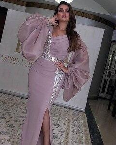 Image 3 - Robe de bal forme sirène femmes, robe longue de soirée, mousseline de soie fendue, Sexy, pierreries, 2020