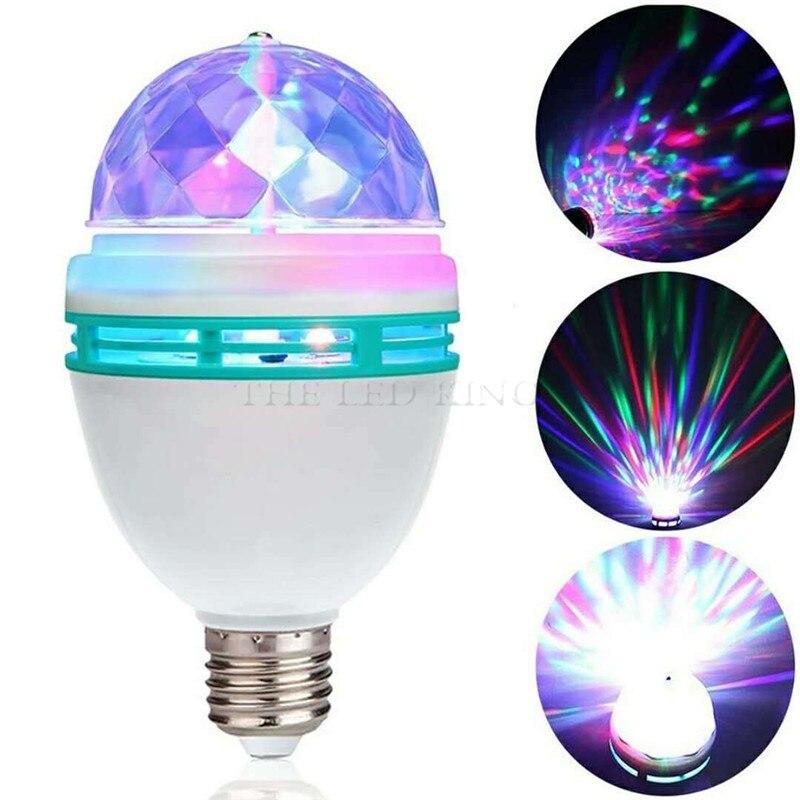 6w 9 rotativa bola de cristal mágica rgb led estágio lâmpada e27 para festa discoteca dj efeito natal
