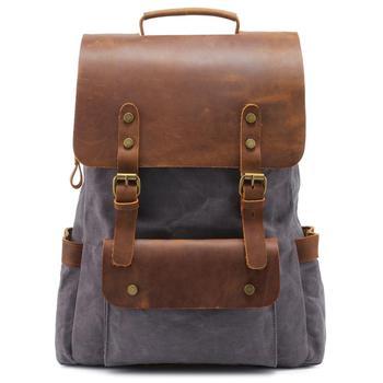 Wholesale Casual Canvas Backpack Waterproof Shoulder Schoolbag Men vintage Travel leather bag  20pcs/lot